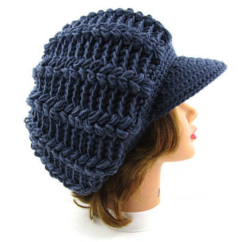 Blue Newsboy Hat - Crochet Cap - Slouchy Tam With Visor - Brimmed Beanie - Women's Hat - Puff Stitch Cap - Visor Hat