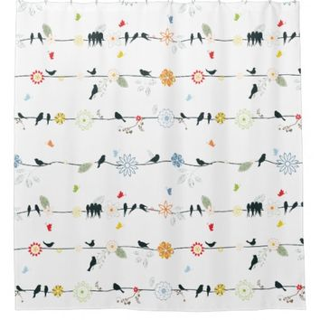 Whimsical Birds and Flowers Shower Curtain