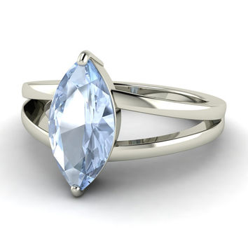 Marquise-cut Aquamarine solitaire engagement ring balanced by delicate spilt bands - Primula