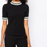 Monki High Neck T-Shirt with Contrast Trim at asos.com