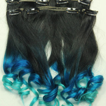 20' Full Set of Ombre Clip in Human Hair Extensions. Double Wefted Black, Blue & Turquoise