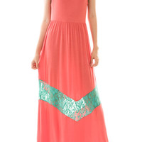 Colorblock Lace Panel Maxi Dress Plus