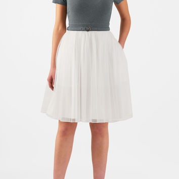 Tulle belted mixed media dress