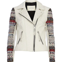 River Island Womens White leather embellished sleeve biker jacket