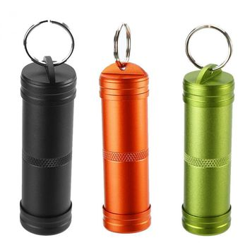 Outdoor Waterproof Survival Pill Box Holder Keychain Container Aluminum Alloy Medicine Bottle Key chain Emergency Travel Kit
