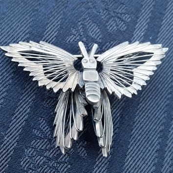 Sterling Silver Monarch Mooving Butterfly brooch Guerrero Guadarrama Mexico TG-189 925
