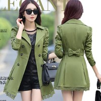 2017 Real Rushed Full Slim Burderry Trench Coat For Women Spring And Autumn Woman Clothing 9 Color Sleeved Party Coats Outwears