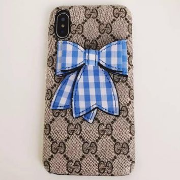 GUCCI iphoneX Mobile Shell iphone7/8plus Bow 6s Leather Case F0245-1 blue