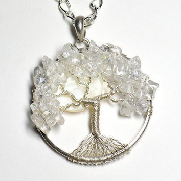 Wire Wrapped Tree of Life Pendant With Sterling Silver Frame and Silver Plated Wire Made With Quartz, Shell, and Crystal Bridal WInter