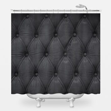 Black Tufted Shower Curtain