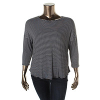 Bar III Womens Jersey Striped Pullover Top