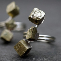 FORMATION Electro Formed Raw Pyrite Stainless Triple Wrap Ring, Natural Stone Ring, Adjustable Bronze Band 7-11