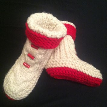 Custom Knit Slippers, Knitted Baby Booties, Red and White Slippers, Slippers, Knitted Slippers, Knitted Booties, Knitted Shoes, Gift Idea