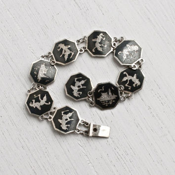 SALE - Vintage Sterling Silver Siam Bracelet - Goddess of Lightning Thai Black Hexagon Panel Enamel Jewelry / Siamese Statement