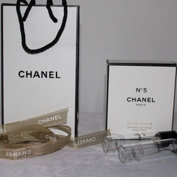 CHANEL No 5 GIFT BAG , RIBBON AND BOX WITH 2x EMPTY BOTTLE