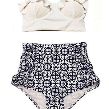 White Midkini Top and White/Black Scrunch Highwaisted High Waisted Waist High-Waist Swimsuit Swimwear Bikini Bathingsuit Bathing Suit S M