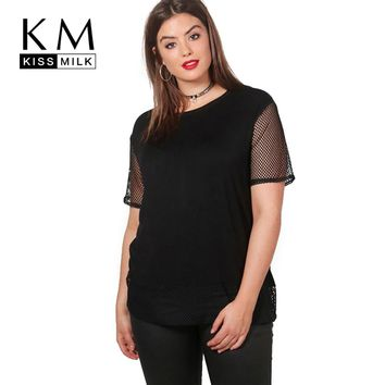 Kissmilk 2018 Big Size Women Clothing Casual Loose O-Neck Mesh Patchwork T-shirt Plus Size Summer Brief Women Tops 4XL 5XL 6XL