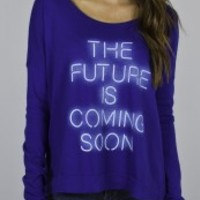 Junk Food Clothing - The Future Is Coming Soon Long Sleeve Tee - Tops - Womens