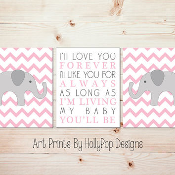 Elephant Nursery Decor I'll Love You Forever Baby Girl Nursery Art Nursery Wall Decor Set of 3 Art Prints Pink Gray Nursery Wall Art #0691