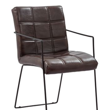 Genuine Leather Upholstered Metal Dinning Chair, Set Of Two, Brown And Black