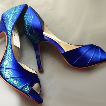 Design your own Wedding Shoes painted Peacock Feather by norakaren