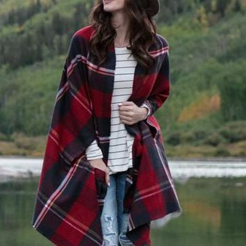 Pocket Poncho Scarf- Winter Weight in Red Plaid