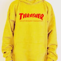 """""""Thrasher""""Men and women with the flame hooded couples sweater(white-red letters) Yellow"""