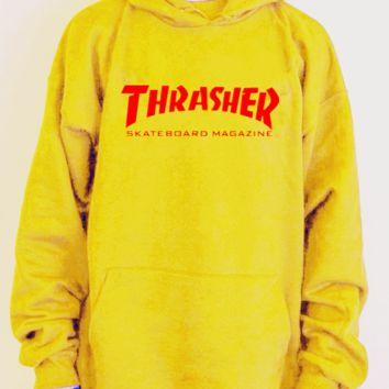 """Thrasher""Men and women with the flame hooded couples sweater(white-red letters) Yellow"