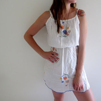 Vintage Peasant Style Dress Mini Short White See Through Floral Print Flowers Flowy Embroidered