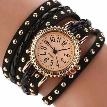 Bohemian Leather Wrap Bracelet Watch in Black