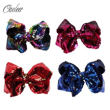 "7"" Big Mermaid Sequin Grosgrain Ribbon Hair Bow Alligator Clips Barrette Bowknot Headwear Children Girls Hair Accessories"