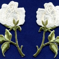 White roses pair flowers floral retro boho hippie applique iron-on patch S-481