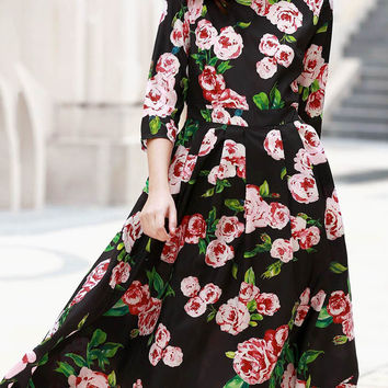 1/2 Sleeve Round Neck Floral Print Dress