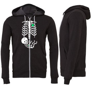 Full Maternity Skeleton X ray MP Zipper Hoodie
