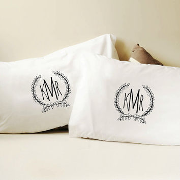Monogram Pillow Cover Custom - Personalized - Home - Wedding Gift - Dorm Decor - Marriage