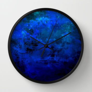SECOND STAR TO THE RIGHT Rich Indigo Navy Blue Starry Night Sky Galaxy Clouds Fantasy Abstract Art Wall Clock by EbiEmporium
