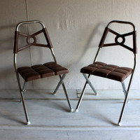 2 mid-century childrens folding chairs Kidee Krome 1960s