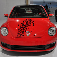 Vinyl Decal Sticker for Car Hood  fits any Auto Vehicle Girl with Butterfly Hair TK18 In 25 Colors