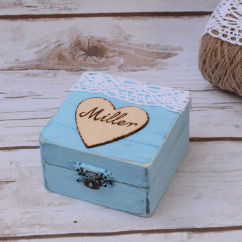 Wedding Ring Box Ring Holder Aqua Shabby CHic Wooden Rustic Box