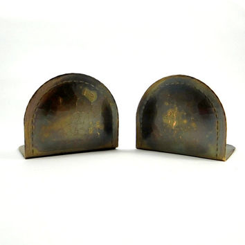 Antique Roycroft Arts and Crafts Movement Hammered Copper Book Ends from 1910s