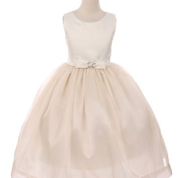 Two Tone Satin and Organza Flower Girl Dress