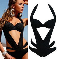 Sexy Women's Halter Bra Bikini  steel wire bra Swimsuit with steel wire support Swimwear Free Shipping