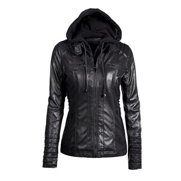 Hoodie Leather Jacket Women Black Leather Hooded Jacket Front Pocket Slim Fit Ladies' Leather Jackets