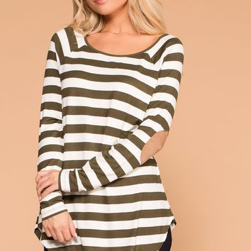 Callie Olive Striped Elbow Patch Top