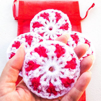 Peppermint Dish Scrubber - Set of 2 through 8 - Nylon Crochet Dish Scrubbies