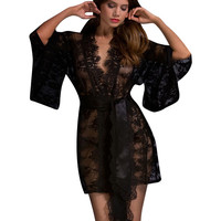 Embroidered Lace Cutout Belted Bell Sleeve Cover-up