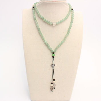 TALE Brand Natrual Green Aventurine Jade Beads Necklace With S925 Silver Lotus Flower Pendant For Women Tibetan Buddhism Jewelry