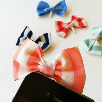 Candy Striped Fabric Bow iPhone Headphone Plug/ Dust Plug - Cellphone Accessories - 4 Color Options