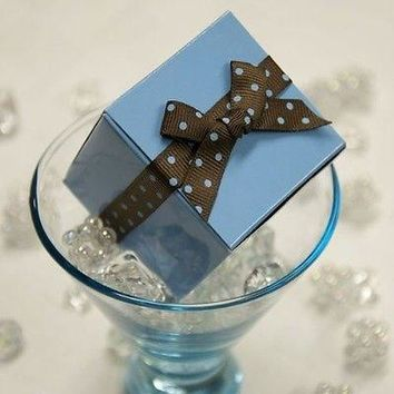 "10 Light Blue Party Favor Boxes Kit Polka Dot Ribbon  2"" Wedding Baby Shower"