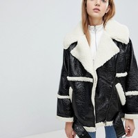 Monki Premium Shearling Aviator Jacket at asos.com